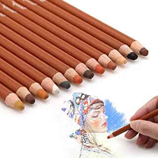 Dainayw Skin Tone Pastel Pencils, Soft 5mm Core, Premier Colored Pencils For Artist Drawing, Sketching - 12 Piece Portrait Set