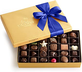 Godiva Chocolatier Assorted Chocolate Gold Gift Box with Royal Ribbon, Father's Day Gift, Premium Chocolate Gift, 36 pc