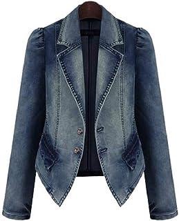 Yeirui Womens Jacket Denim Two Casual Jean Button Lapel Blazer Jacket Suit Coat