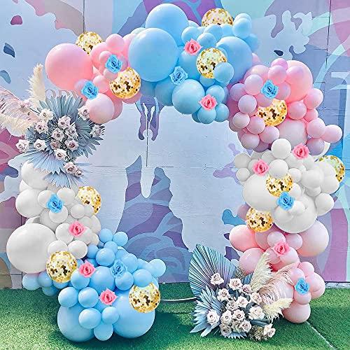 Kit de Guirnalda de Globos Rosa Azul Blanco, Juego de Decoración Fiesta Revelación Género con Globos Confeti Oro para Niña Niño Cumpleaños, Baby Shower, Decoración de Boda