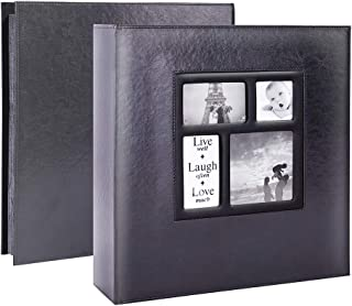 Lanpn Photo Album 4x6 600 Photos, Extra Large Capacity Leather Cover Picture Photo Albums Holds 600 Pockets Horizontal and Vertical 4x6 Pictures with Black Pages for Family Wedding Black