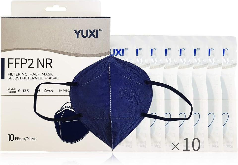 YUXI Maske FFP2 Zertifiziert, 10 Einheiten, CE1463 EN 149:2001 + A1:2009 FFP2 NR