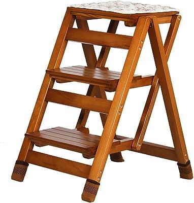 HOMRanger Pasos Taburete Escalera Plegable 3 escalones Escalera de Madera Ahorro de Espacio Plegable Multifunción Hogar Cocina Loft Dormitorio Capacidad máxima de Carga 150 kg: Amazon.es: Hogar