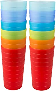 Sponsored Ad - AOYITE Plastic Tumblers Drinking Glasses Set of 12 | Break Resistant 22 oz Plastic Cups | 6 Assorted Colors...
