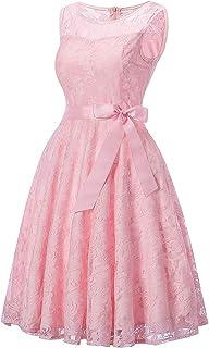 73666e2feb4e97 Auifor Frauen Vintage Prinzessin floraler Spitze Cocktail Ausschnitt Party  Aline Swing Dress