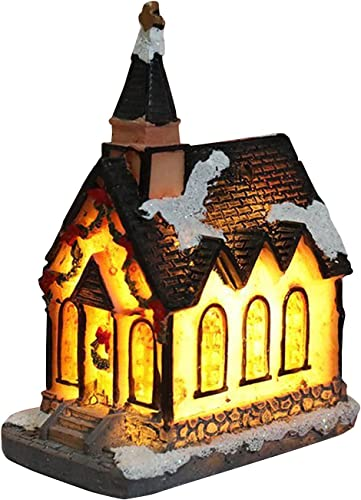 wholesale RiamxwR Christmas Miniature House sale Furniture LED House Decorate Creative Christmas Decorations Resin Small House Micro Landscape Small Ornaments high quality (Style A) online