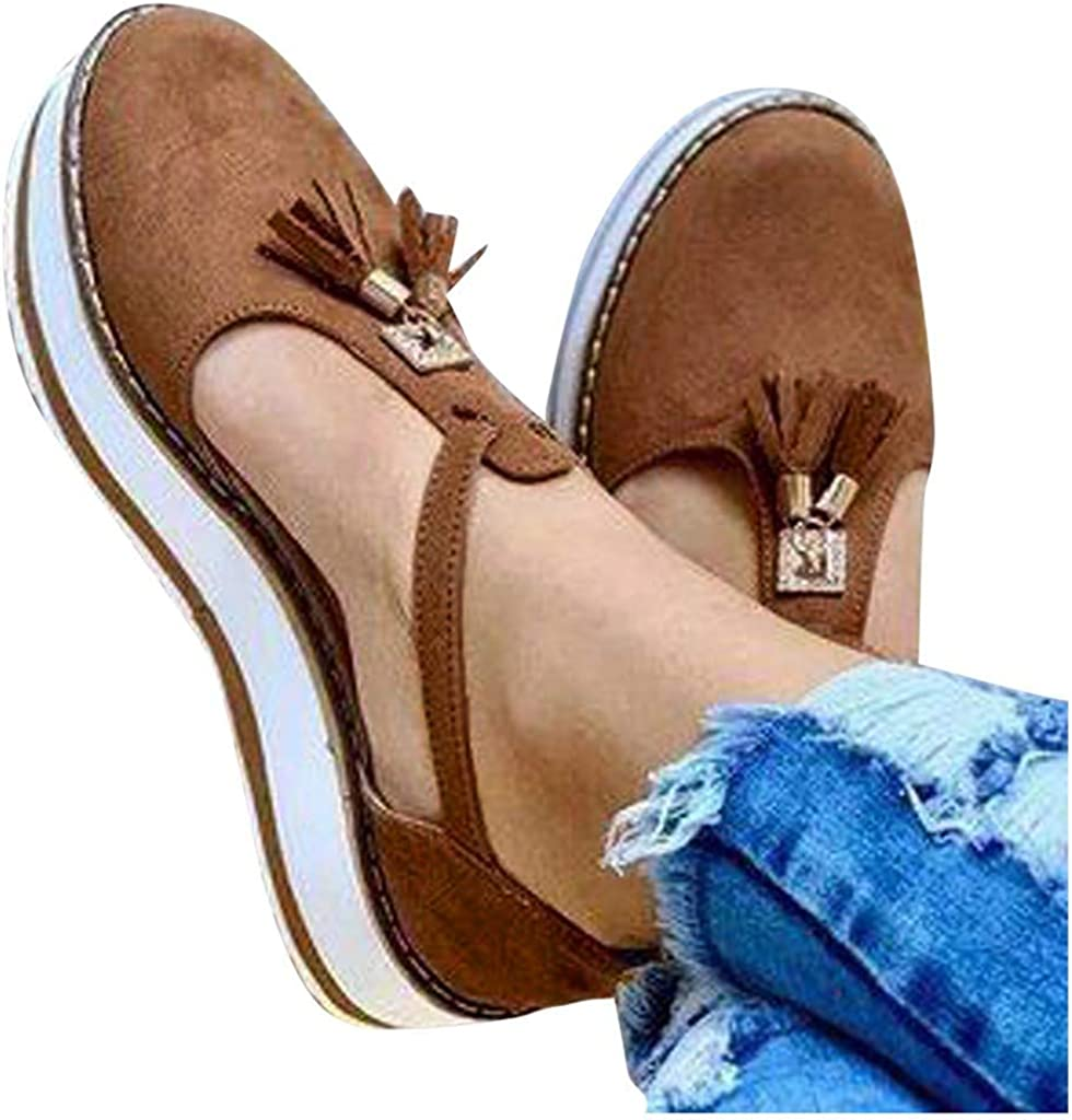 Hosamtel Wedges Shoes for Women Rapid rise Ranking TOP3 Fl Elastic-Band Round Toe Hollow
