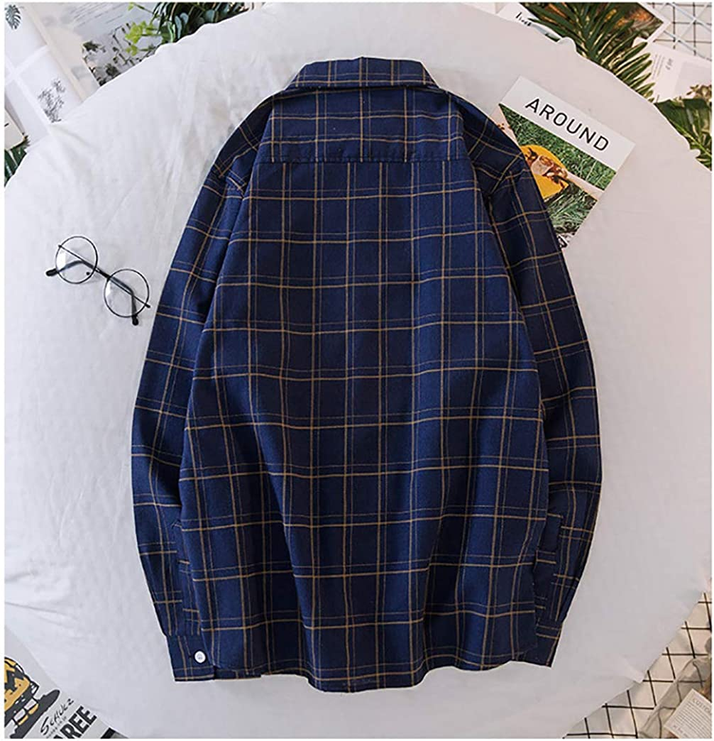 Dressy Men Regular Fit Shirts Casual Long Sleeve Plaid Button Down Shirt