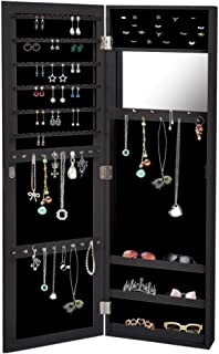 Levede Mirror Jewellery Cabinet Makeup Storage Jewelry Organiser Box Tall Black