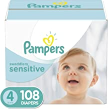 Diapers Size 4, 108 Count – Pampers Swaddlers Sensitive Disposable Baby Diapers, Super Economy