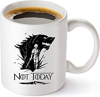Game Of Thrones Merchandise Mug - Not Today Coffee Mug Arya Stark GOT Cup - Funny Birthday Gifts For Women And Men - House...