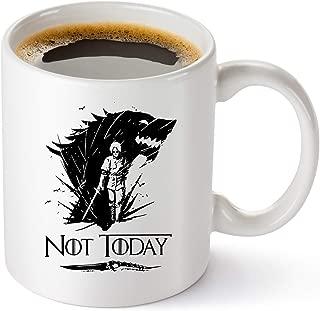 Game Of Thrones Merchandise Mug - Not Today Coffee Mug Arya Stark GOT Cup - Funny Birthday Gifts For Women And Men - House Stark