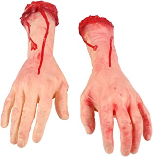 Alytree 1 Pair Fake Hands Halloween Decorations, Scary Severed Arm Hands Body Parts Kitchen Bathroom Yard Scary Decorations for Halloween Cosplay Party (Large)