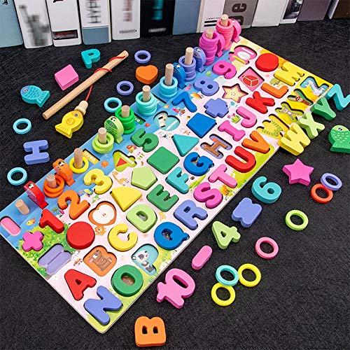 YAWJ Puzzles Kleinkinder, 5-in-1-Farb-Alphabet-Formnummer Sortieren Angeln Spiel Spielzeug, pädagogisches Mathe-Stapelblock Lernen Jigsaw Board, Geschenk für Jungen Mädchen