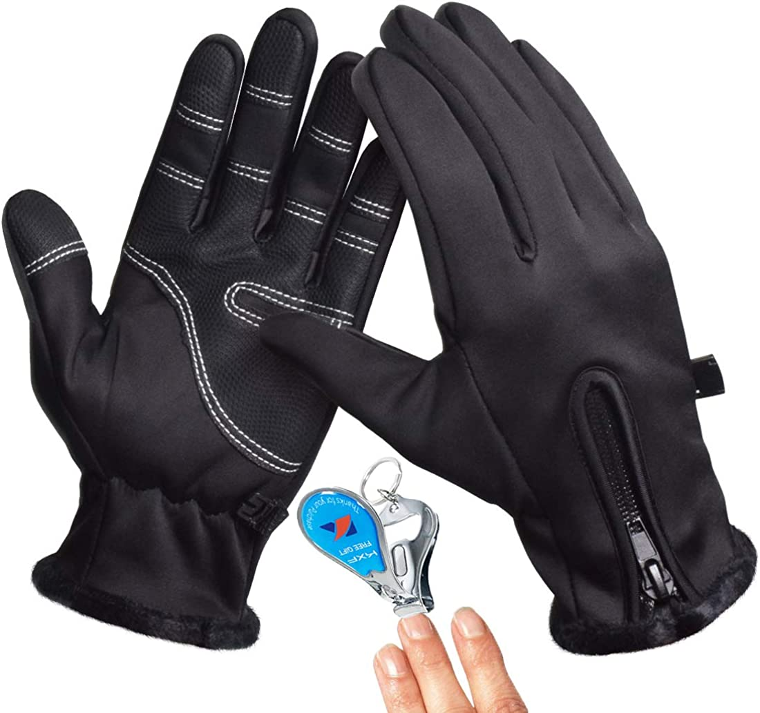 Winter Gloves Men Touch Screen Gloves Waterproof Anti-Slip for Biking, Driving, Hiking