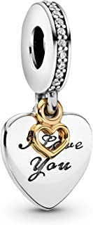 Pandora Jewelry I Love You Forever Heart Dangle Cubic Zirconia Charm in Sterling Silver and 14K Yellow Gold