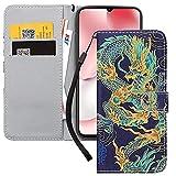 Yoedge Handyhülle für Xiaomi Redmi Note 8T Lederhülle, Schwarz Premium Leder Flip Hülle mit Modisch Muster Brieftasche Klapphülle Handytasche Hülle für Redmi Note 8T 6,3-Zoll, Drache