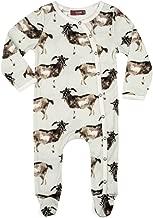 MilkBarn Organic Cotton Footed Romper Goats, Grey