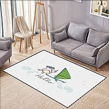 Large Area Rug,Hello,Summer Inspiration with Hand Drawn Bird and Windsurf Board Cartoon Style,All Season Universal,3'3