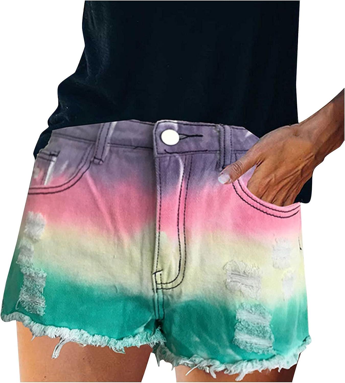 Ultra-Cheap Very popular Deals KEJINKCSEE Women's Tie Dye Denim Hole Shorts Jeans Ripped