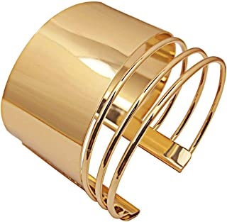 COLORFUL BLING Metal Punk Simple Adjustable Smooth Polished Geometric Opem Wide Cuff Bangle Bracelet for Women Lady Girl J...