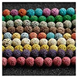 Coolrunner 120pcs Mixed Color Lava Stone Beads, Round Loose Beads for Jewelry Making, Essential Oil Diffuser Accessories Multi-Colors(6mm)
