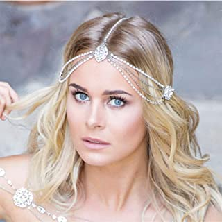 Aimimier Bohemian Head Chain Crystal Teardrop Forehead Chain Wedding Prom Party Festival Hair Jewelry for Women and Girls...