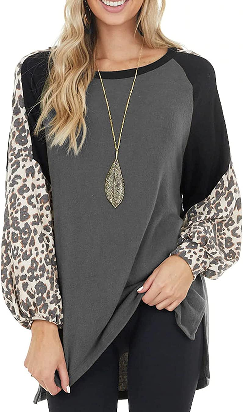 Allimy Women's Leopard Print Colorblock Loose Shirts Side Slit Long Sleeve Tunic Top