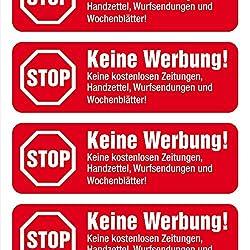 Rote Vinyl Aufkleber STOP Keine Werbung