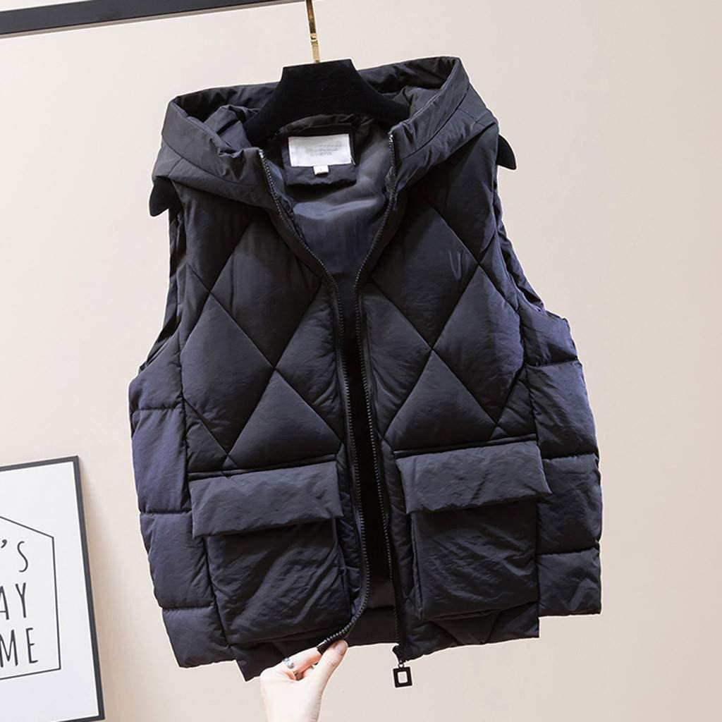 Zip Womens Padded Vest Womens Jacket Vest Womens Casual Zip Up Gilets Jacket Soft Warm Sleeveless Puffer Vest