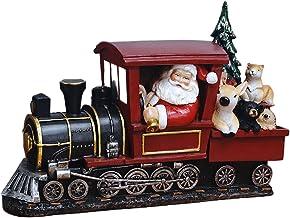 yotijay Estatuetas de Papai Noel de Resina de Natal Ornamentos para de Jantar Vitrine Interior - Dirija um trem (leve)
