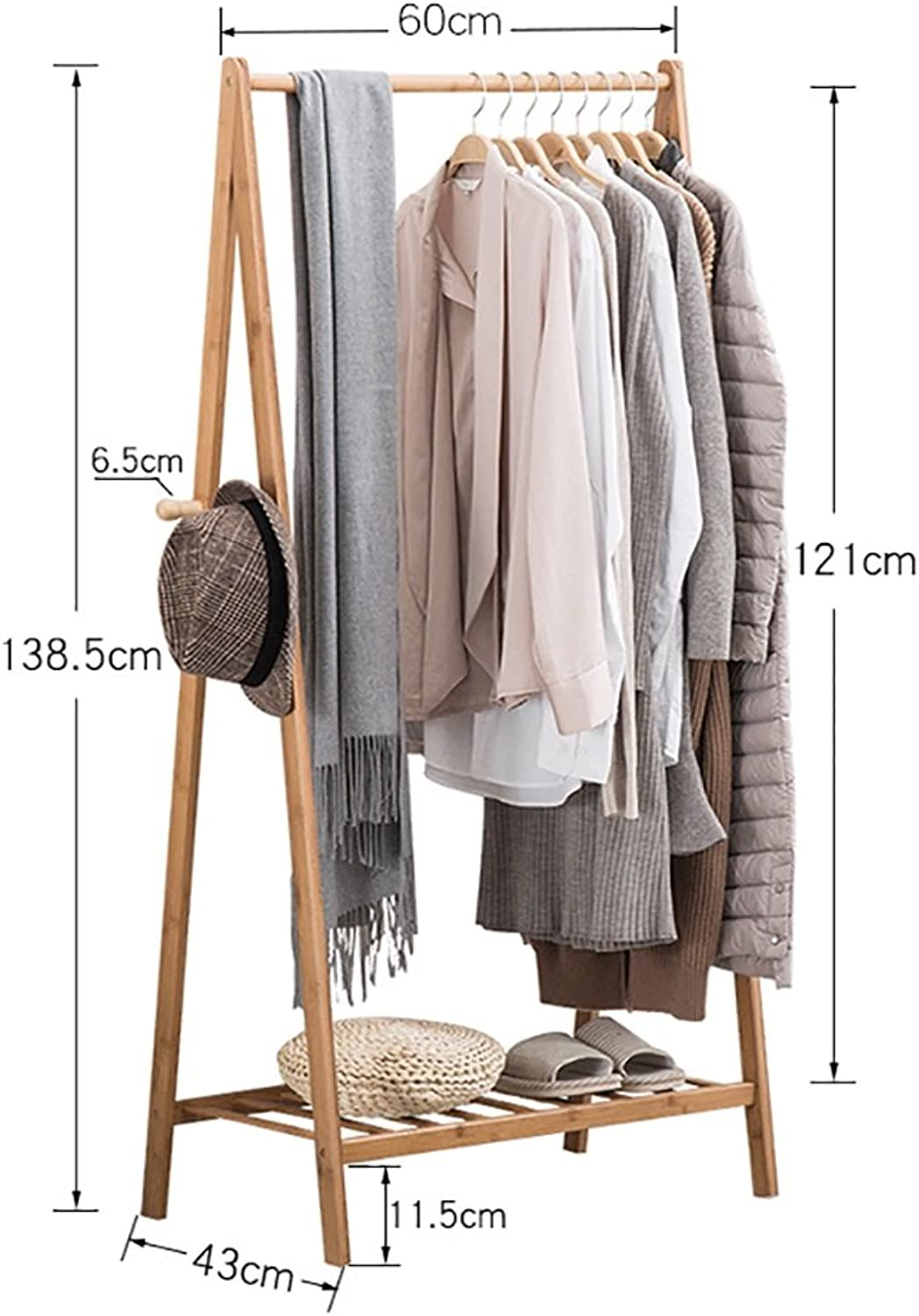 XJRHB Clothes Standing Bamboo Wooden Bedroom Drying with shoes Rack Coat Rack (Size   60CM)