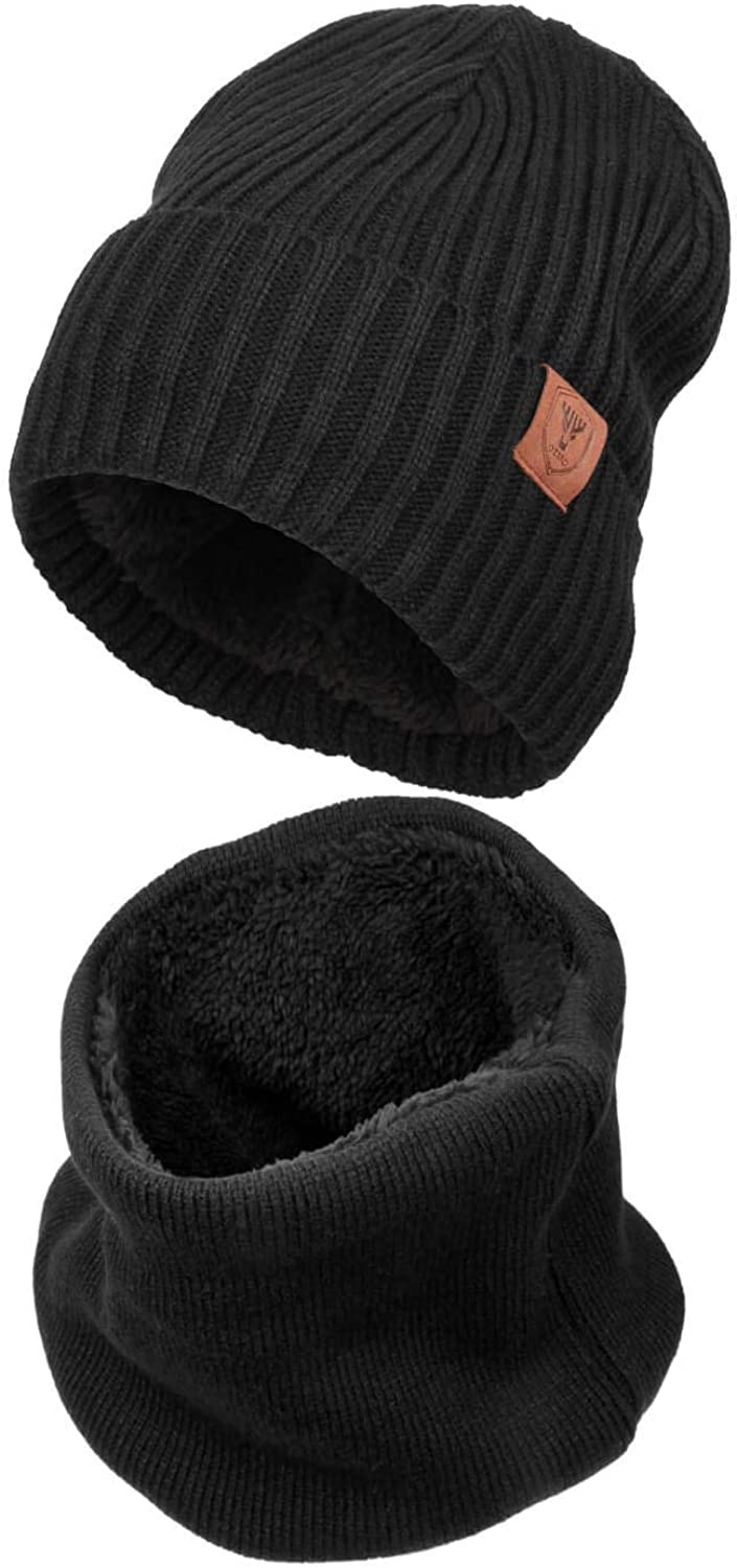 OZERO Winter Knit Hat Beanie  Warm Circle Loop Scarf 2 in 1 for Men and Women