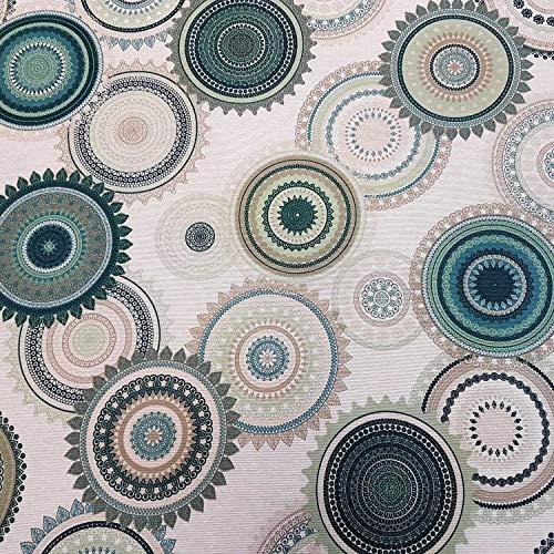 Werthers Stoffe Stoff Meterware Baumwolle beschichtet Mandala grün Petrol beige Tischdecke abwaschbar