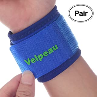 Velpeau Wrist Brace - Compression Wrist Strap Support for Carpal Tunnel, RSI, TFCC Tear, Weight Bearing Strain, and Sprains for Weak and Sore Wrists (Adjustable, Pair, Blue)