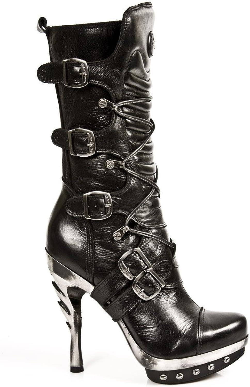 New Rock Newrock PUNK001-C1 PUNK001-C1 PUNK001-C1 Damen Leder Schwarz Stiefel Goth Emo Punk Style aab