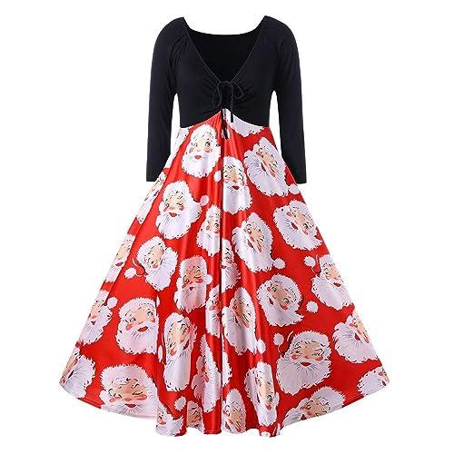50dcf2beb52e iDWZA Women Pleated V-Neck Ribbons Merry Christmas Santa Claus Print Party  Dress