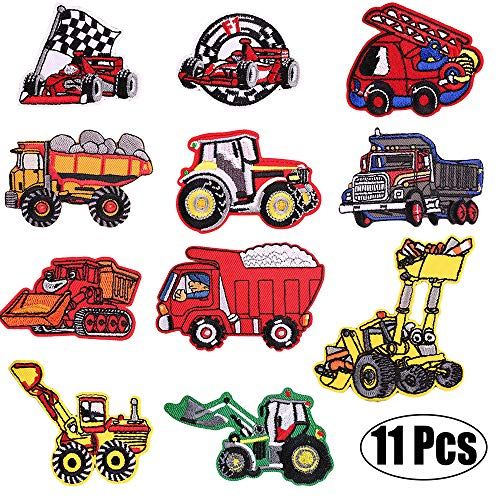 Kids Car Embroidered Patches-Iron on Patches-Vehicle Embroidery Patches-Assorted DIY Sew on Applique Truck Patches-Cute Patches for Boys Girls-Decorative Patches for Jackets, Backpack, Jeans, Clothes