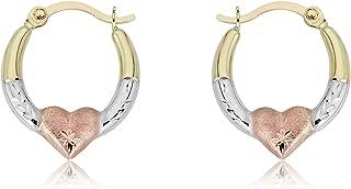 Gold Heart Creole Hoop Earrings - 10K 3-Tone or 14K/10K Yellow Gold