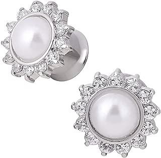 Longbeauty Silvery Stainless Steel Petals Diamond White Pearl Opal Single Flared Flesh Ear Tunnels Plugs Stretcher Expander Gauge 2g-5/8