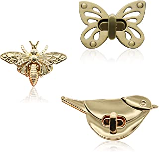 Purses Locks 3 Pieces Butterfly/Bee/Birds Shape Clasp GKONGU Turn Lock Metal Purse Twist Clutches Closures Hardware Bag Bu...