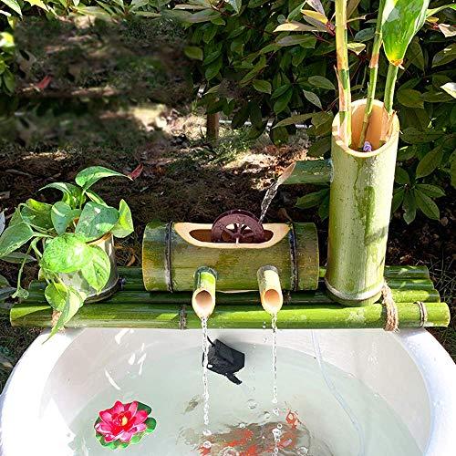 Fuente de bambú Jardín Fuente de Agua Fuente Bomba Decoración Esculturas Estatuas Artes Artesanía Obra de Arte Elaboración para Estanque Patio de pecera