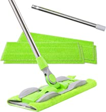 ITSOFT Microfiber Hardwood Floor Mop - Stainless Steel Handle with Extension and 5 Reusable Mop Pads, for Wet or Dry Floor Cleaning