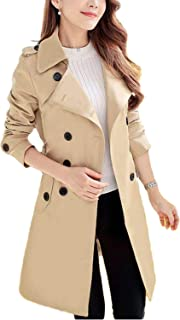 Women's Double Breasted Trench Coat Classic Belted Lapel Overcoat