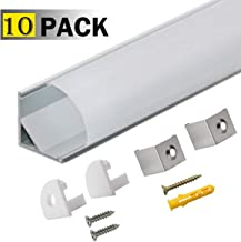 StarlandLed 10-Pack LED Aluminum Channel V Shape with Milky PC Cover for Strip Lights Installation,Easy to Cut,Professional Look LED Strip Diffuser Cover Track with Complete Mounting Accessories