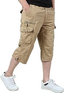 Men's Casual Twill Elastic Cargo Shorts Below Knee Loose Fit Multi-Pocket Capri Long Shorts