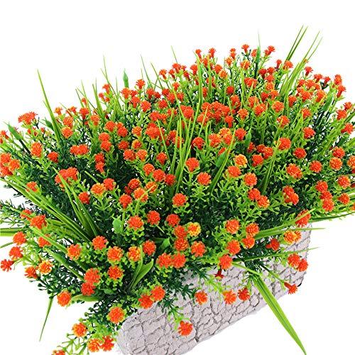 TVMALL - Flores artificiales para exteriores, plantas y flores artificiales, 5 unidades, diseño de ramo de flores de mano, decoración para interiores y exteriores