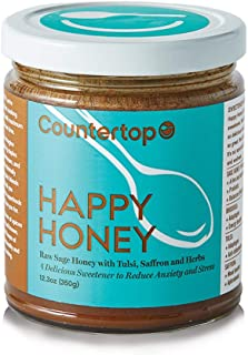 COUNTERTOP FOODS Raw Happy Honey (2-Pack) - Adaptogenic Superfood Honey for Stress Relief - Boost Coffee & Smoothies with Turmeric, Saffron, Rhodiola, Tulsi, Cocoa, and Coconut Oil, 12oz