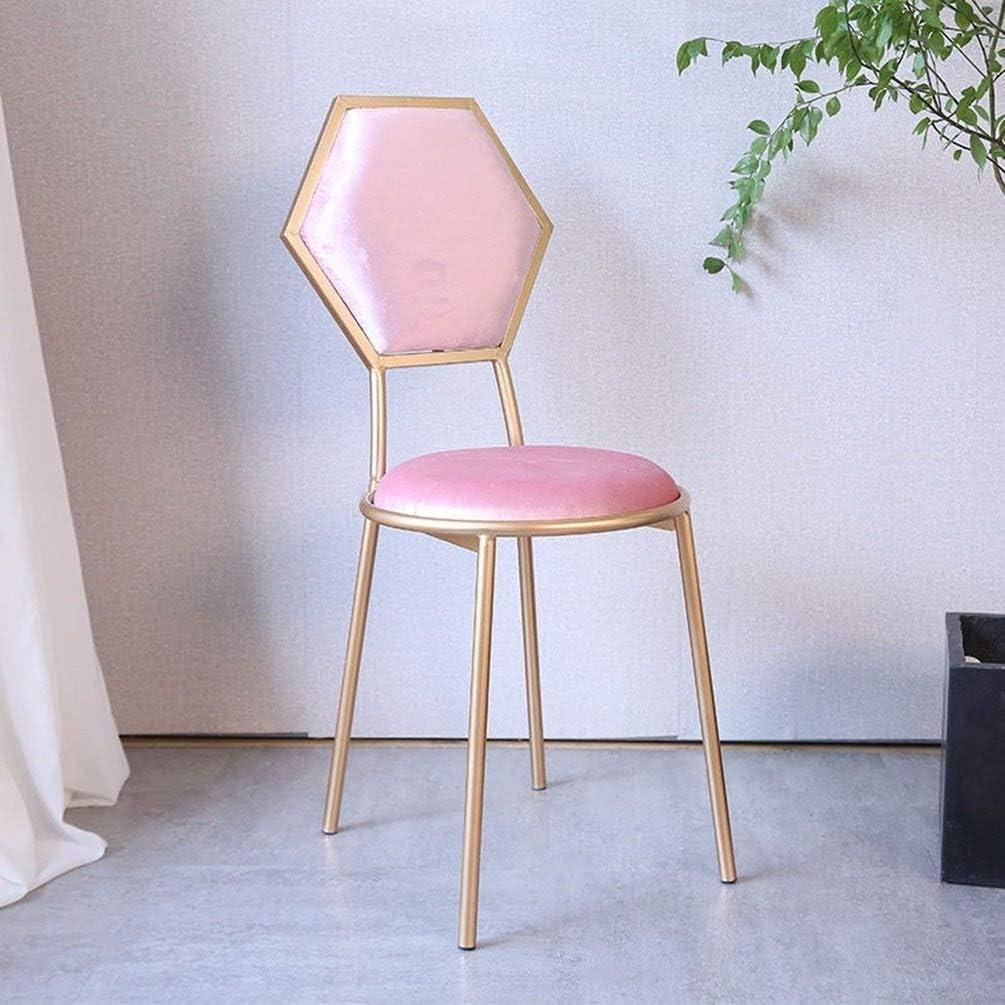Fauteuil-Restaurant coloré Chaise de Salle à Manger de Haute Chaise de Maquillage pour la Chambre à Coucher avec Tabouret Haut (Couleur: Rose Clair) 1