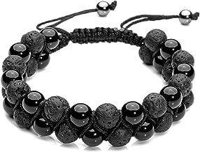Top Plaza Men Women 8mm Lava Rock Stone Aromatherapy Essential Oil Diffuser Bracelet Braided Rope Natural Stone Yoga Beads Bracelets